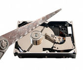 Hard disk cut with a hacksaw, on white background — Stock Photo