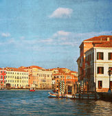 Grand Canal in Venice, Italy.Photo in old color image style. — 图库照片