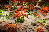 Fresh seafood photographed in fish market — Stock Photo