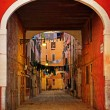 Old Venetian yard, Italy.Photo in old color image style. — Stock Photo