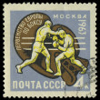 Foto de Stock  : USSR - CIRC1963: stamp printed in USSR show boxers, about 1963