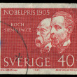 Foto de Stock  : SWEDEN - CIRC1965: stamp printed in Sweden showing nobel awarded scientists 1905 years, circ1965