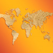 World map from texture of a tree on an orange background - Stock Photo