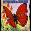 REPUBLIC OF BURUNDI - CIRC1974: stamp printed in Burundi shows butterfly Cymothoe CoccinatNew, series, circ1974 — 图库照片 #28993831