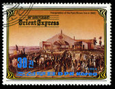 KOREA - CIRCA 1984: A stamp printed in Korea, shows inauguration of the Paris-Roven line in 1843 , circa 1984 — Stock Photo