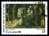 "CUBA - CIRCA 1980: A stamp printed in Cuba shows the ""Venetial Scene II"", by Michele Marieschi, from the series ""Paintings in the Natl.Museum"", circa 1980 — Stock Photo"