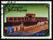KOREA - CIRCA 1984: A stamp printed in Korea, shows inauguration of a French railway line in 1860 , circa 1984 — Foto de Stock