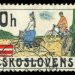 CZECHOSLOVAKIA - CIRCA 1986: stamp printed by CZECHOSLOVAKIA, shows the image of retro Bicycle, circa 1986 — Stock Photo #29122797