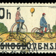 CZECHOSLOVAKIA - CIRCA 1986: stamp printed by CZECHOSLOVAKIA, shows the image of retro Bicycle, circa 1986 — Stock Photo #29122923