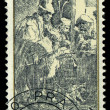 CZECHOSLOVAKI- CIRC1982: stamp printed in Czechoslovakia, shows musicians in hostel, by Rembrandt (1606-1669), series, circ1982 — Stock Photo #29122945