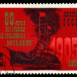 "USSR- CIRCA 1985: a stamp printed by USSR, shows known russian Battleship "" Potemkin"", 80 years of the rebellion, circa 1985 — Lizenzfreies Foto"