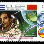 CUBA - CIRCA 1981: A stamp printed in CUBA, 20th anniversary of first flight into space , 13 centavos. astronauts Arnaldo Tamayo Mendez, Yuri Gagarin ,circa 1981 — Stock Photo #29123561