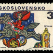CZECHOSLOVAKIA- CIRCA 1979: A stamp printed in the Czechoslovakia, represented, 6th biennial exhibition of illustrations for childrens books, illustrations of Russian fairy tales by Tatiana Mavrina, c — Stock Photo