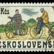 CZECHOSLOVAKIA - CIRCA 1986: stamp printed by CZECHOSLOVAKIA, shows the image of retro Bicycle, circa 1986 — Stock Photo