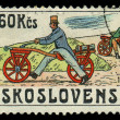 CZECHOSLOVAKI- CIRC1986: stamp printed by CZECHOSLOVAKIA, shows image of retro Bicycle, circ1986 — Zdjęcie stockowe #29124655