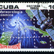 CUBA - CIRCA 1980: a stamp printed in the Cuba shows Meteorology, Intercosmos Program, Space Program of the Soviet Union, circa 1980 — Stock Photo