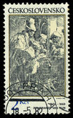CZECHOSLOVAKIA - CIRCA 1982: A stamp printed in Czechoslovakia, shows musicians in a hostel, by Rembrandt (1606-1669), series, circa 1982 — Foto Stock