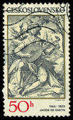 CZECHOSLOVAKIA - CIRCA 1982: A stamp printed in Czechoslovakia, shows the lute player, by Jacob de Gheyn (1565-1629), series, circa 1982 — Stock Photo
