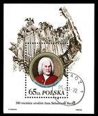 Poland - CIRCA 1985: A stamp printed in Poland, shows Johann Sebastian Bach and organ, circa 1985 — Stock Photo
