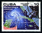 CUBA - CIRCA 1980: a stamp printed in the Cuba shows Meteorology, Intercosmos Program, Space Program of the Soviet Union, circa 1980 — Zdjęcie stockowe