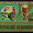 Republic of Burundi, - CIRCA 1974: A stamp printed by Burundi showing football players, circa 1974 — Stock Photo