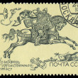 RUSSIA - CIRCA 1987: A stamp printed in the USSR shows 14th-16th Century Postrider, circa 1987 — Stock Photo