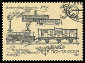 USSR - CIRCA 1987: A stamp printed in the USSR showing old locomotive, circa 1987 — Foto de Stock