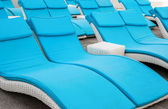 Empty beach couches at the beach — Stock Photo