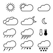 Weather Icons with White Background — Stock Vector