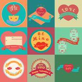 Tarjetas feliz día de san valentín con ornamentos, corazones, cinta — Vector de stock