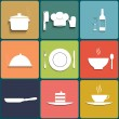 Cooking and kitchen icons. Set in Flat Design — Stock Vector