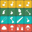 Hand tools icon set vector. Flat Design — Stock Vector