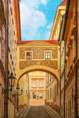 Street of Prague, Czech Republic, old color image style. — Stock Photo