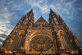 St. Vita Cathedral in Prague at the night — Stock Photo