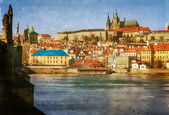 Prague, Charles Bridge, Czech Republic, textured old paper — Zdjęcie stockowe