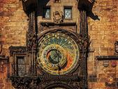 Orloj astronomical clock in Prague. Czech Republic, dark colors — Stock Photo