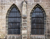 Old church window showing much detail and texture — Stock Photo