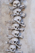 Skulls and bones , interior  Sedlec ossuary. Kutna Hora, Czech Republic — Stock Photo