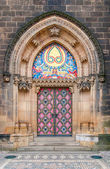 Vintage door. Entrance to the cathedral at Vysehrad, Prague. — Stock Photo