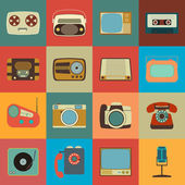 Retro Style Media Icons — Vettoriale Stock