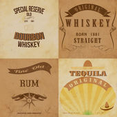 Vintage alcohol labels set. Fully editable vector EPS10 . — Stock Vector