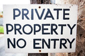 Private Property No Entry Sign — Foto Stock