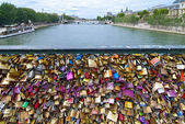 Pont des Arts key Bridge across Seine river — Stock Photo