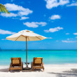 Idyllic white beach in front of the turquoise tropical sea — Stock Photo #24559761