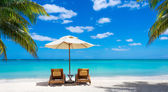 Idyllic white beach in front of the turquoise tropical sea — ストック写真