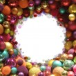 Colorful christmas balls frame - Stock Photo