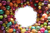 Colorful christmas balls frame — Stock Photo
