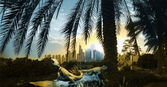 Dubaj sunrise panorama s plazy — Stock fotografie