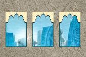 Abstract Dubai Skyscrapers through Windows — Stock Photo