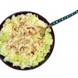 Coleslaw, chicken and biscuits — Stock Photo